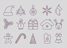 Ensemble de ligne icônes de Noël Images stock