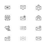 Ensemble de ligne icônes pour des messages Illustration de vecteur Photo stock