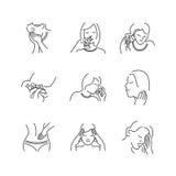 Ensemble de ligne médecins oto-rhino-laryngologie d'icônes, en difficulté Photographie stock libre de droits