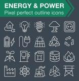 Ensemble de ligne mince énergie et d'icônes de puissance Images stock