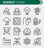 Ensemble de ligne mince énergie et d'icônes de puissance Image libre de droits