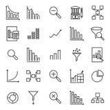 Ensemble de ligne mince analytique icônes Image stock