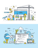 Ensemble de ligne mince concepts de construction plats de conception et de développement de site Web illustration de vecteur