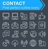 Ensemble de ligne mince contact et d'icônes de communication Image libre de droits