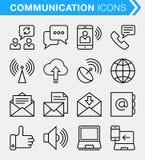 Ensemble de ligne mince contact et d'icônes de communication Images stock