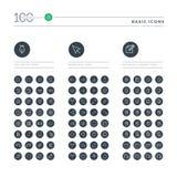 Ensemble de ligne mince de base icônes de Web Image stock