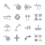 Ensemble de ligne mince fabrication d'icônes de bois Images libres de droits