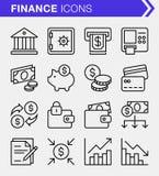 Ensemble de ligne mince finances et d'icônes d'opérations bancaires Images stock