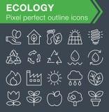 Ensemble de ligne mince icônes d'écologie Image libre de droits