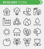 Ensemble de ligne mince icônes d'écologie Photos stock