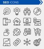 Ensemble de ligne mince icônes d'optimisation de moteur de recherche Image libre de droits