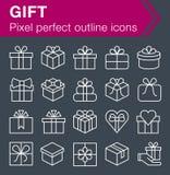 Ensemble de ligne mince icônes de cadeau Photos stock