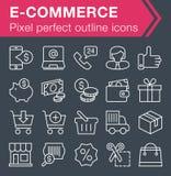 Ensemble de ligne mince icônes de commerce électronique Images stock