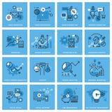 Ensemble de ligne mince icônes de concept du marketing Images libres de droits