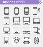 Ensemble de ligne mince icônes de dispositifs Photographie stock libre de droits