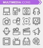 Ensemble de ligne mince icônes de multimédia Photo libre de droits