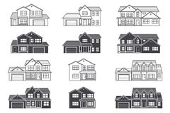 Ensemble de ligne mince maisons américaines suburbaines de vecteur d'icône Pour le Web Photos libres de droits