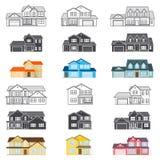 Ensemble de ligne mince maisons américaines suburbaines de vecteur d'icône Pour le Web Illustration Libre de Droits