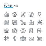 Ensemble de ligne mince moderne icônes parfaites de concept d'affaires de pixel Photographie stock