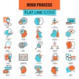 Ensemble de ligne mince processus d'esprit humain d'icônes, caractéristiques de cerveau et émotions Photographie stock libre de droits