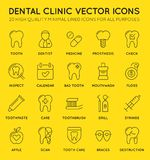 Ensemble de ligne minimale icônes de Dental Clinic Vector de dentiste Pixel parfait Course mince 48x48 Images stock