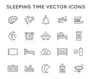 Ensemble de ligne minimale icônes de vecteur de temps de sommeil Pixel parfait Course mince Photographie stock libre de droits
