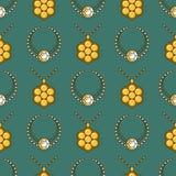 Ensemble de ligne modèle sans couture de bijoux de vecteur Collection colorée de luxe de diamant Silhouette de collier Cristal de Photographie stock