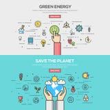 Ensemble de ligne plate concept de construction de bannières de couleur Image libre de droits