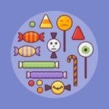 Ensemble de ligne plate icône de sucreries colorées illustration de vecteur
