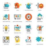 Ensemble de ligne plate icônes de conception de conception graphique, d'outils et de processus créatif Images stock
