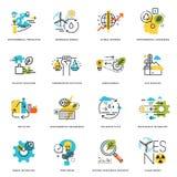 Ensemble de ligne plate icônes de conception de nature, d'écologie, de technologie verte et de la réutilisation Image stock