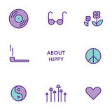 Ensemble de ligne plate icônes de hippie Pictogrammes modernes Photo stock