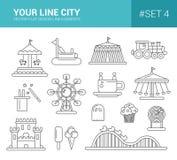 Ensemble de ligne plate icônes de parc d'attractions de conception Images libres de droits