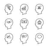 Ensemble de ligne principale icône de personnes, pensant au cerveau, escroquerie d'affaires Photographie stock libre de droits