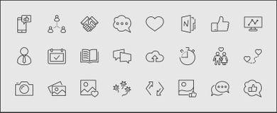 Ensemble de ligne relative icônes de vecteur de réseaux sociaux Contient des icônes telles que la page de profil, l'estimation, l illustration de vecteur