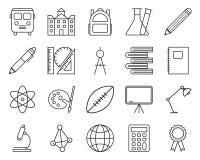 Ensemble de ligne relative icônes d'école Photo stock