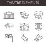 Ensemble de ligne relative icônes de théâtre illustration libre de droits