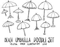 Ensemble de ligne tirée par la main de croquis de griffonnage d'illustration de parapluie de plage Photo libre de droits