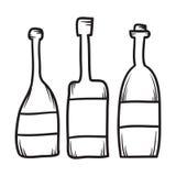 Ensemble de ligne tirée par la main illustration de bouteilles de vecteur illustration stock