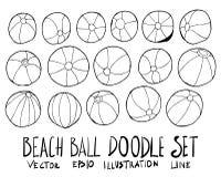 Ensemble de ligne tirée par la main vec de croquis de griffonnage d'illustration de ballon de plage Photographie stock libre de droits