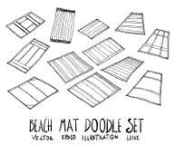 Ensemble de ligne tirée par la main vect de croquis de griffonnage d'illustration de tapis de plage Photo libre de droits