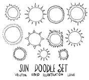 Ensemble de ligne tirée par la main vecteur ENV de croquis de griffonnage d'illustration de Sun Photographie stock