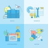 Ensemble de ligne universelle icônes de concept Image libre de droits