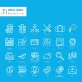 Ensemble de lignes minces de base icônes de Web Photographie stock libre de droits