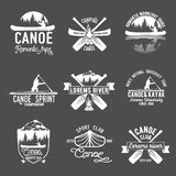 Ensemble de logo de canoë-kayak de vintage Photo stock