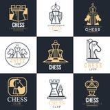 Ensemble de logo d'échecs, élément de conception pour le championnat, tournoi, club d'échecs, carte de visite professionnelle de  illustration libre de droits