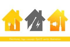 Ensemble de logo d'électricien Photos libres de droits