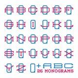 Ensemble de logo d'équipe de sport d'université Monogramme de deux lettres Photos libres de droits