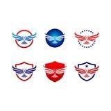 Ensemble de logo d'oiseau de faucon d'aigle de vecteur Photographie stock libre de droits