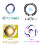 ensemble de logo de cercle du résumé 3d illustration libre de droits